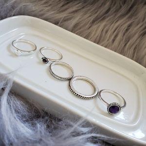 Purple Gem Stackable Rings